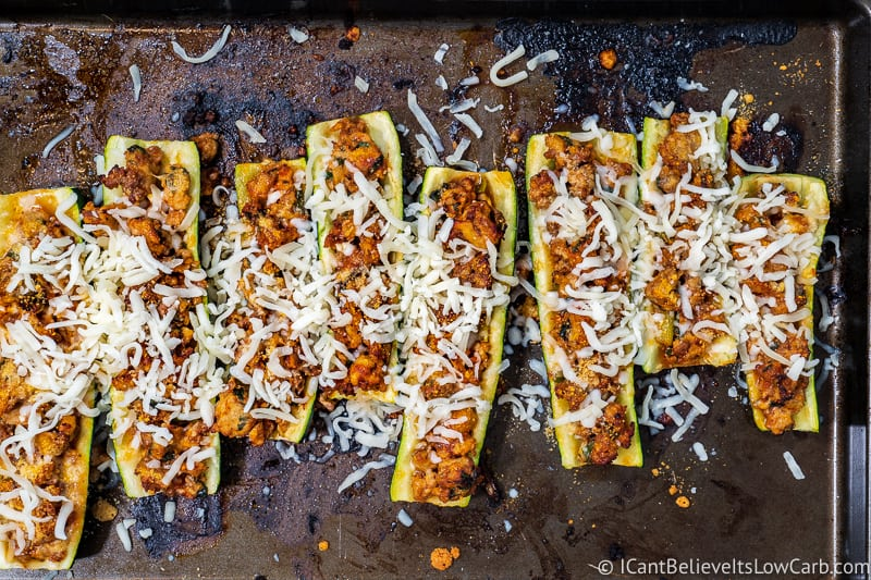 Keto Zucchini Boats with mozzarella cheese