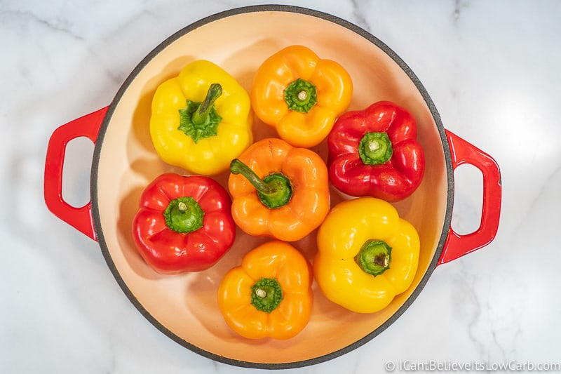 Colored Bell Peppers in pot