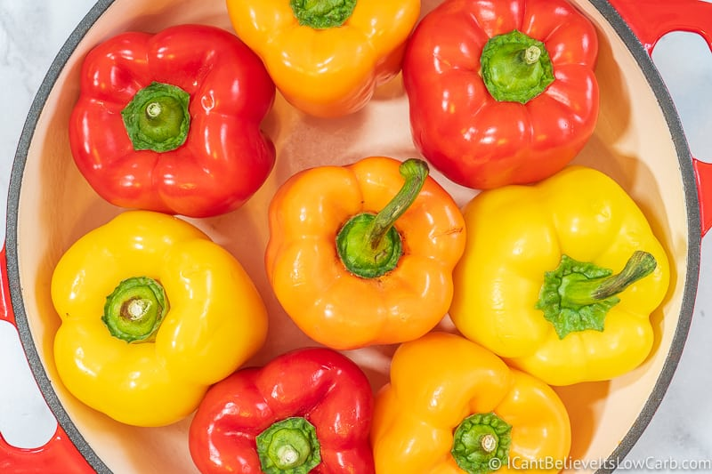Bunch of Yellow Orange Red Bell Peppers