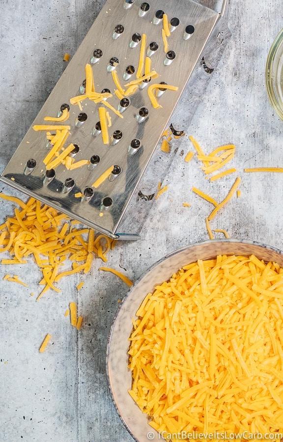 Shredded Cheddar Cheese in a bowl