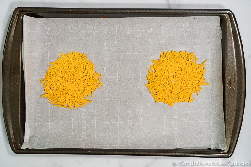 shredded Cheese on baking tray for Taco Shells