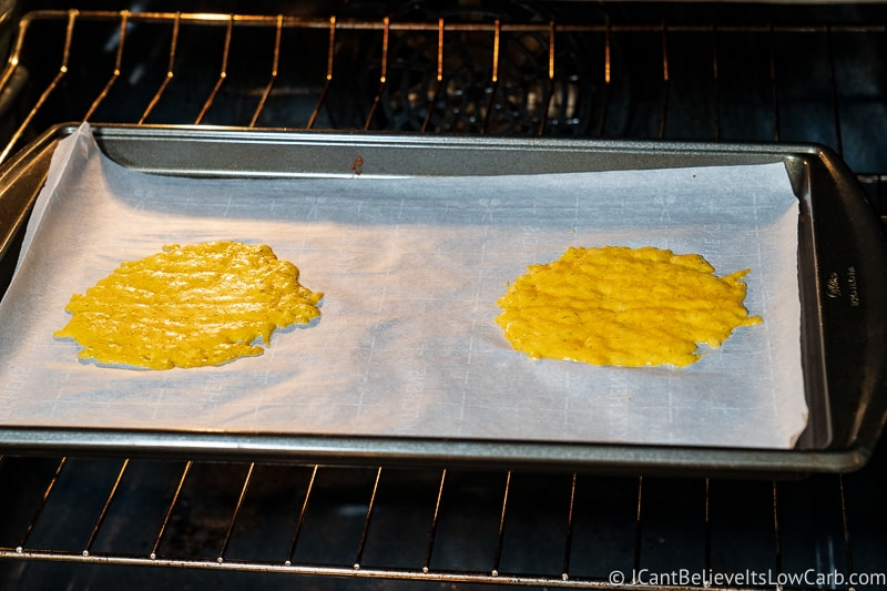 Keto Cheese Taco Shells cooking in the oven