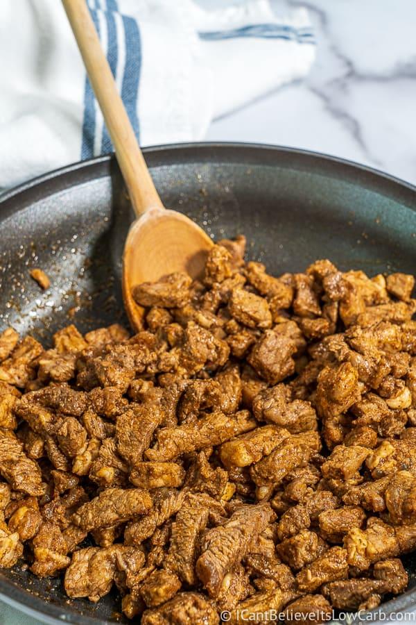 preparing Keto Taco meat in a pan