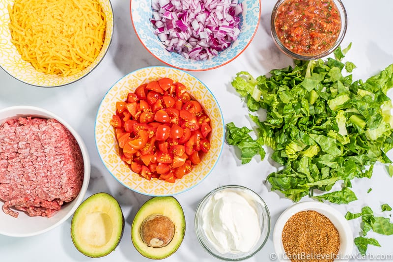 Ingredients fo Keto Taco Salad on table