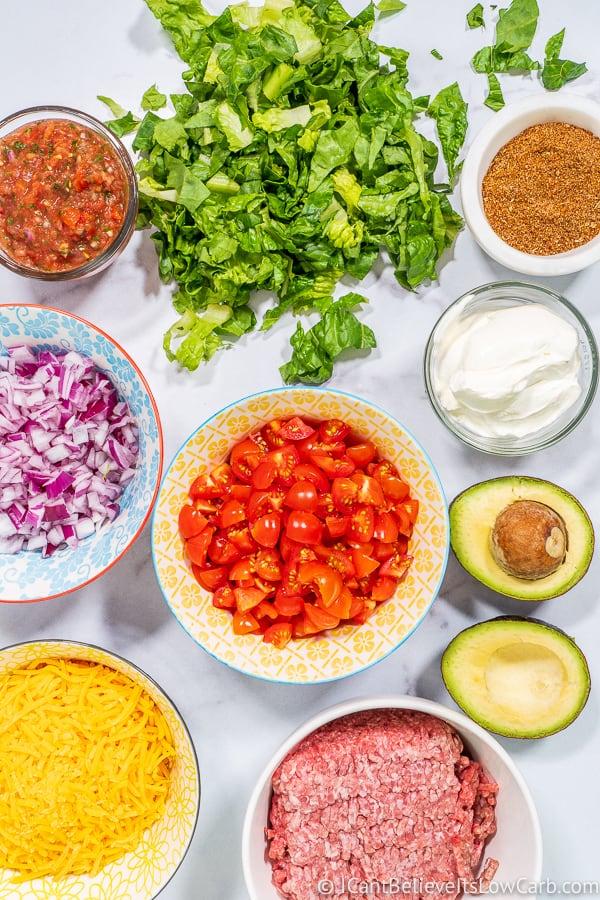 Low Carb Taco Salad ingredients