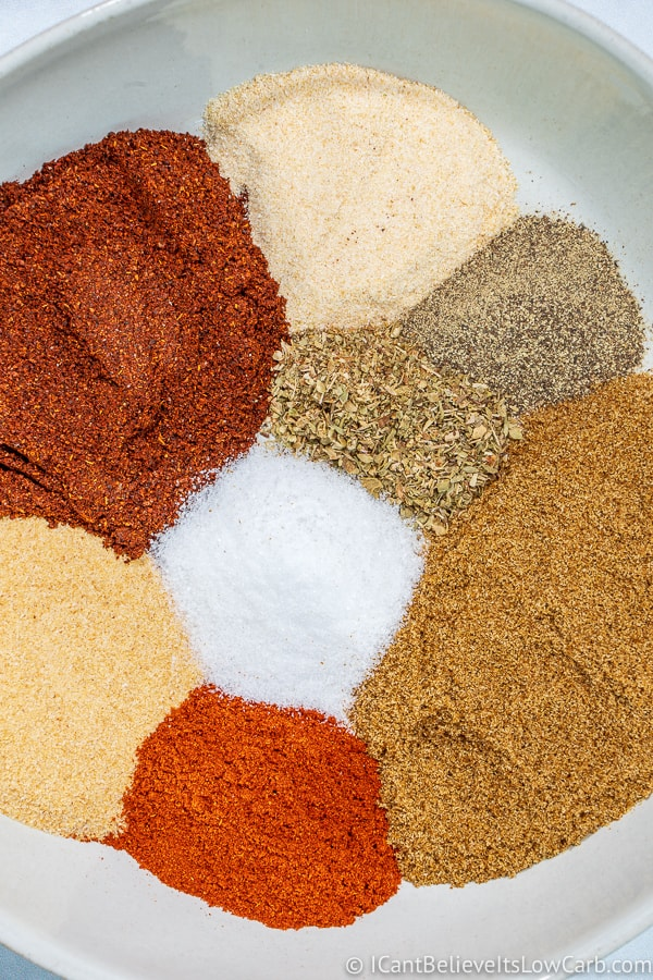 Ingredients for Keto Taco Seasoning