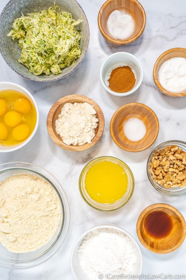 ingredients for Keto Zucchini Bread