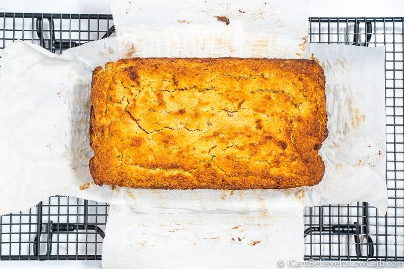 Keto Zucchini Bread out of the oven