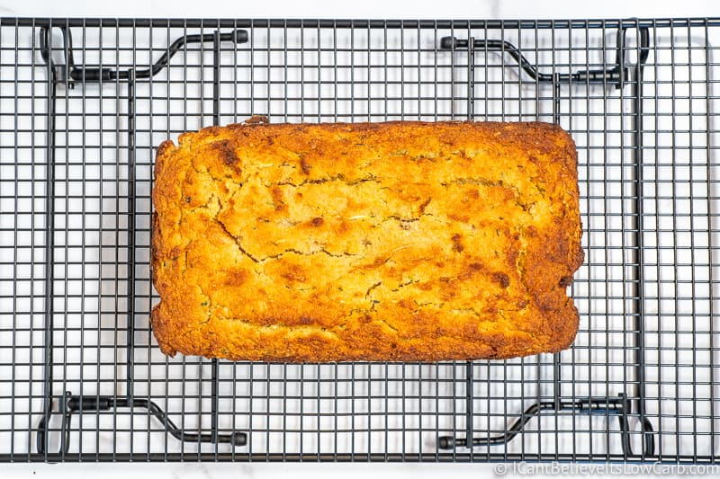 Almond Flour Zucchini Bread on cooling rack