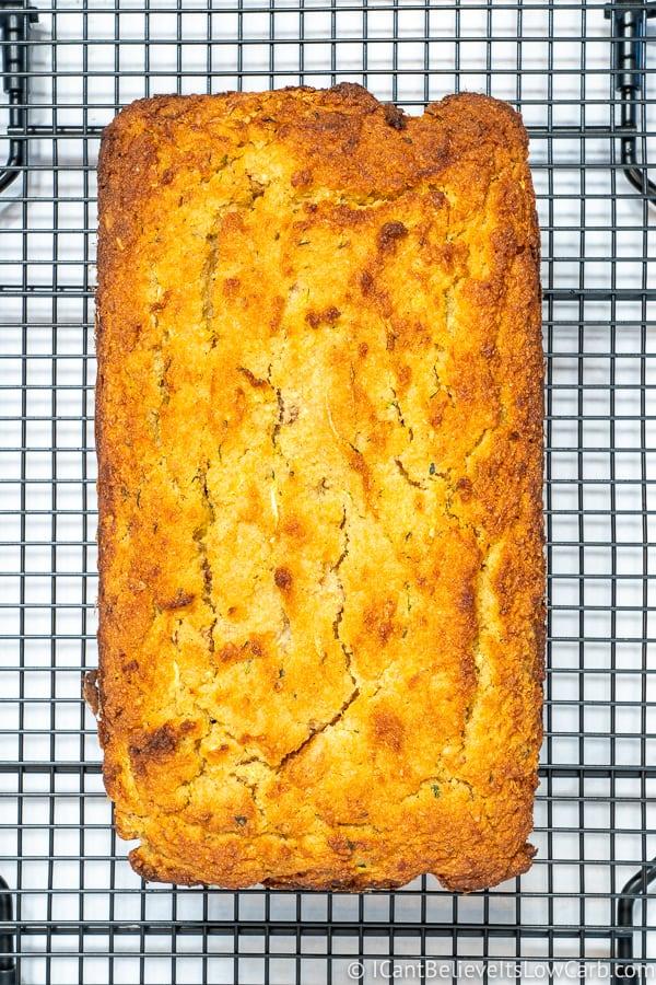 Keto Zucchini Bread on cooling rack