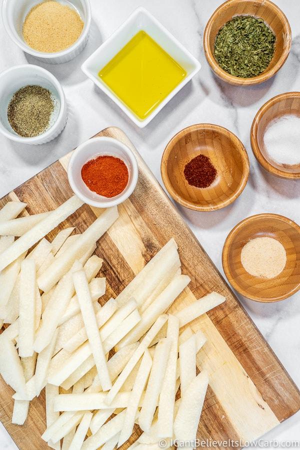 ingredients for Jicama Fries