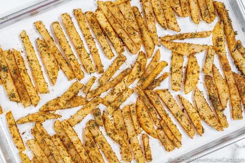 tray full of uncooked Jicama Fries