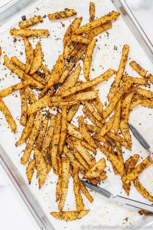 baked Jicama Fries on tray