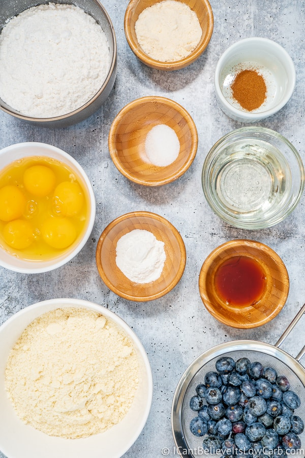 Keto Blueberry Muffin ingredients