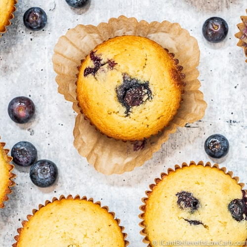 Keto Blueberry Muffins recipe with almond flour