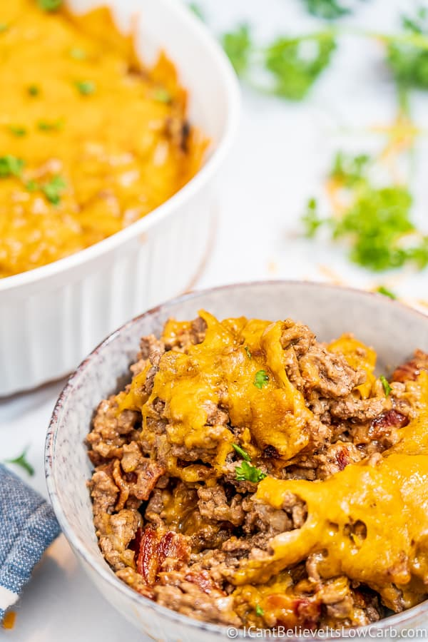 Best Keto Cheeseburger Casserole with bacon