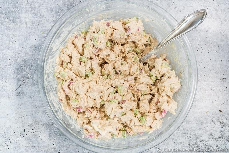 mixing Keto Chicken Salad