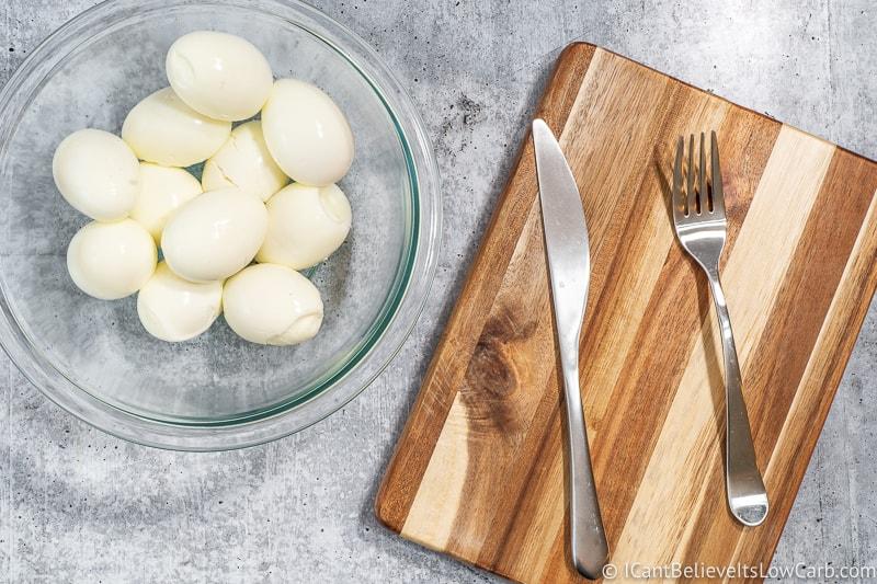 hard-boiled eggs in a bowl for Keto Egg Salad