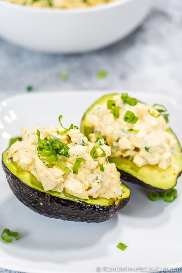 Keto Egg Salad inside avocado
