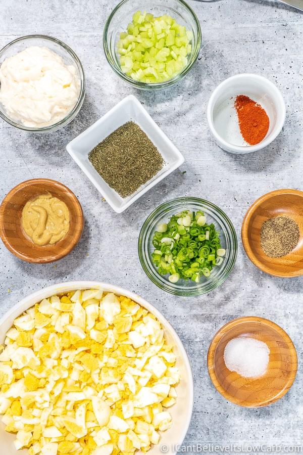 ingredients for low carb Egg Salad