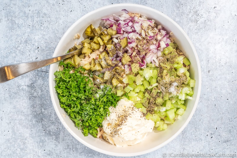 getting ready to mix Keto Tuna Salad