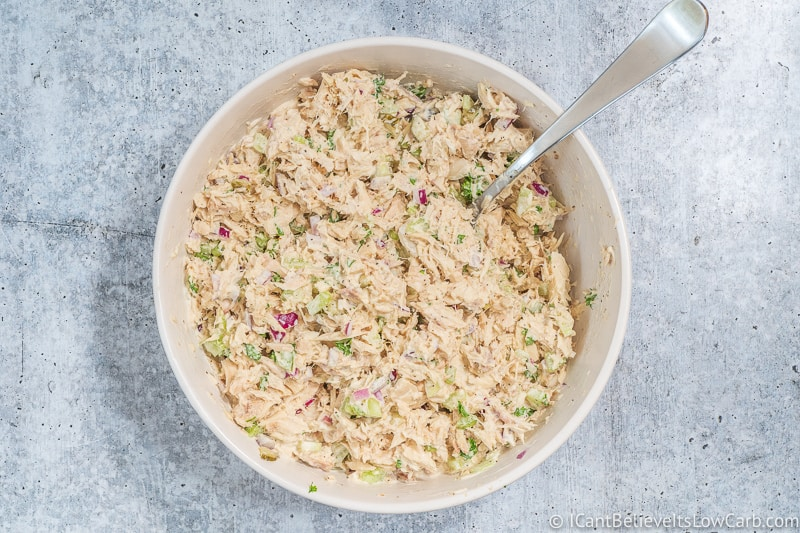 low carb Tuna Salad mixed in a bowl
