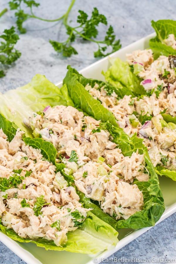 Keto Tuna Salad in lettuce wraps