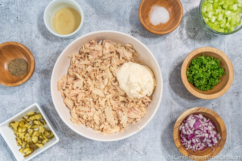 adding Mayonnaise to Keto Tuna Salad