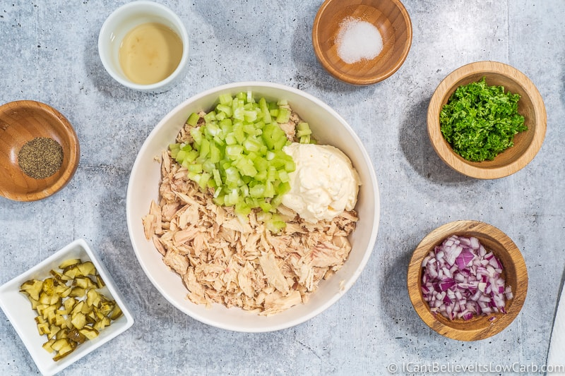 bowl of Keto Tuna Salad with mayo and celery