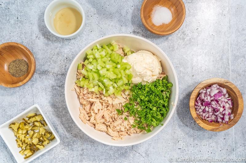 parsley and celery added to Keto Tuna Salad