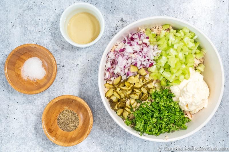 adding pickles to Keto Tuna Salad