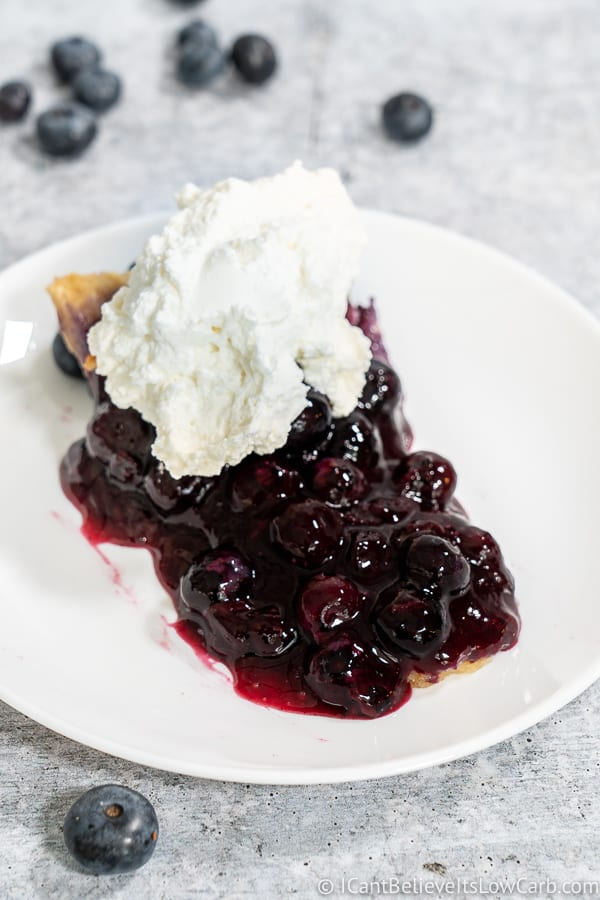 Keto Blueberry Pie with whipped cream