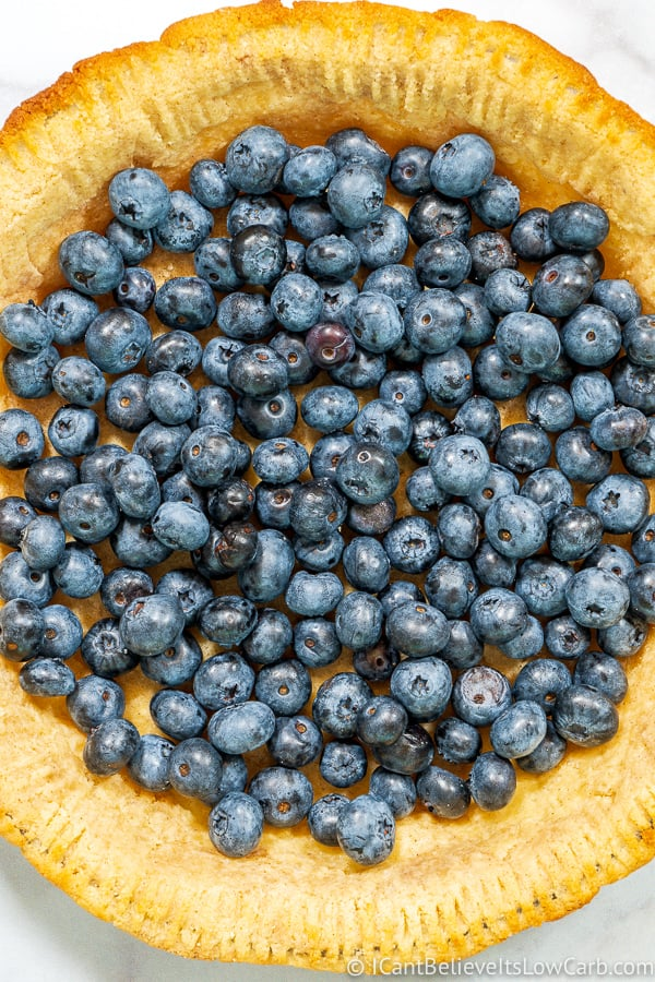 Keto Pie crust filled with blueberries