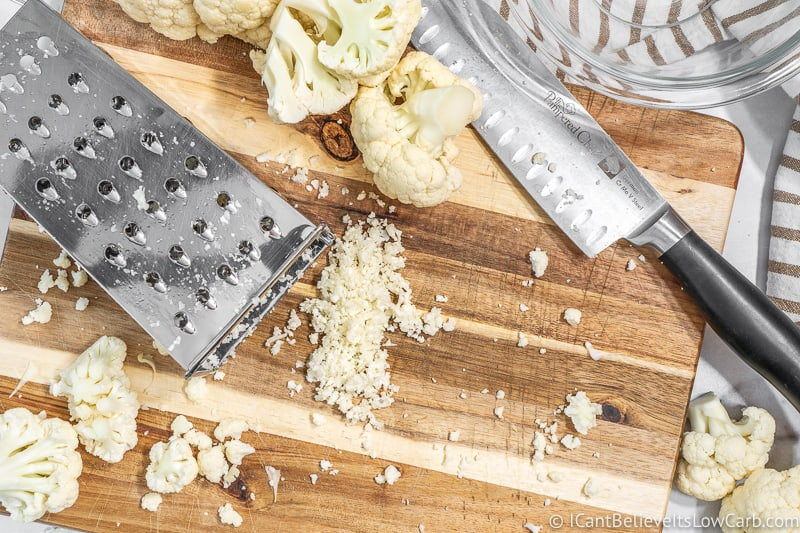 Riced Cauliflower with box grater by hand