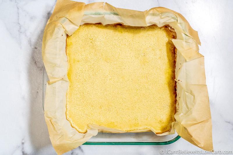 Keto Lemon Bars freshly out of the oven