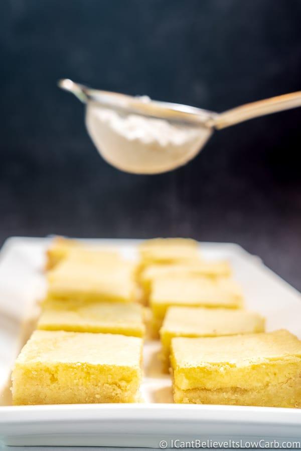 sprinkling powdered swerve on sugar-free lemon bars