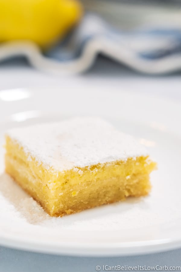 Keto Lemon Bar on a white plate