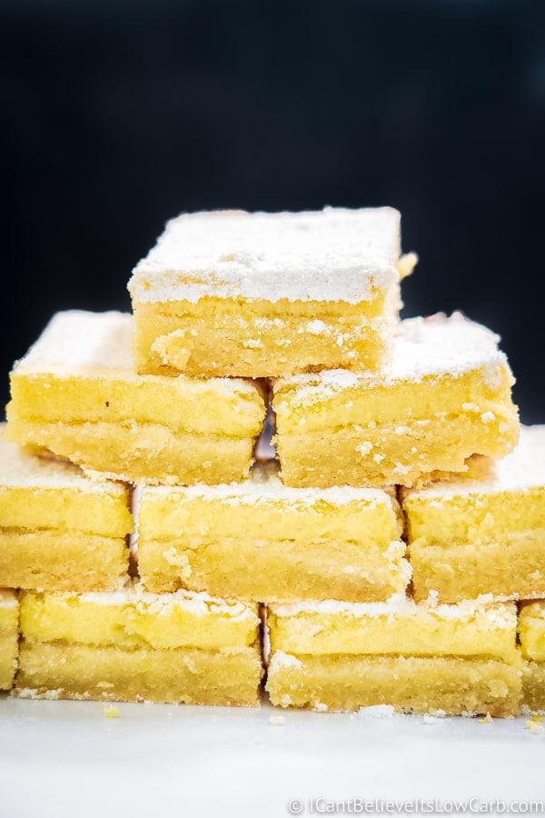 Sugar Free Lemon Bars in a pyramid