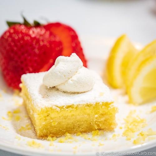 Keto Lemon Bars with whipped cream