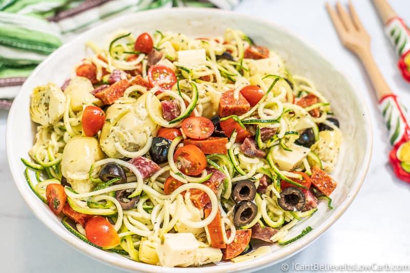 Italian zucchini noodle salad