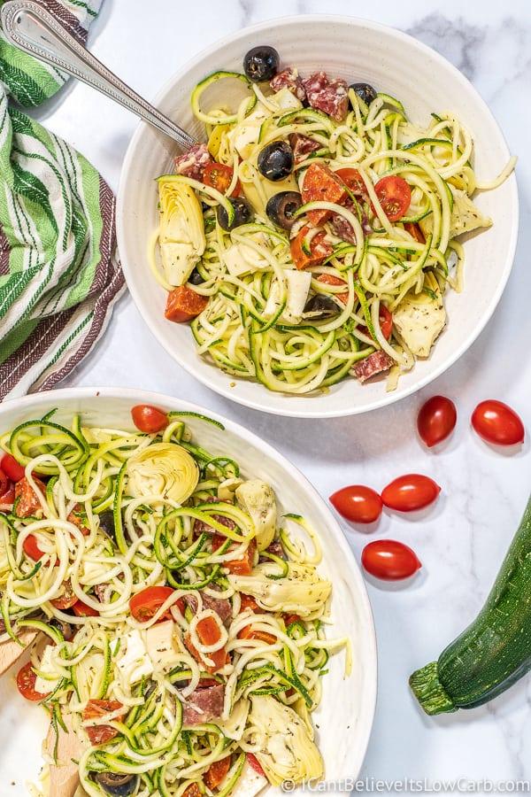 Keto Zucchini Noodle Pasta Salad
