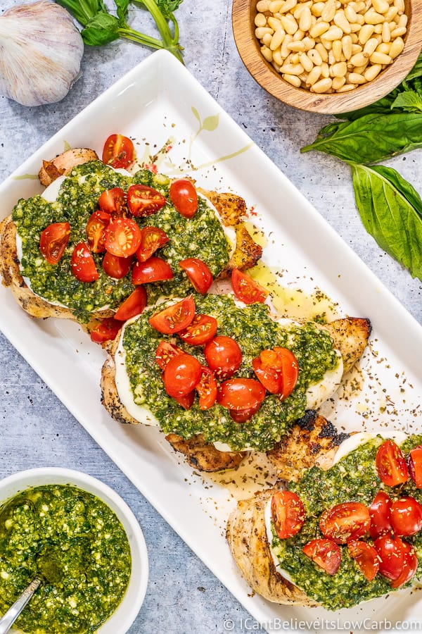 Chicken cutlets with Fresh Basil Pesto sauce