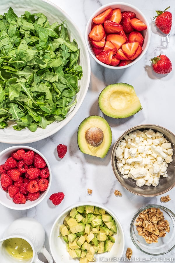 ingredients for Strawberry Salad with avocado and feta