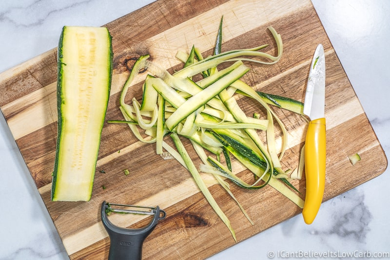 making Zucchini Noodles with a knife