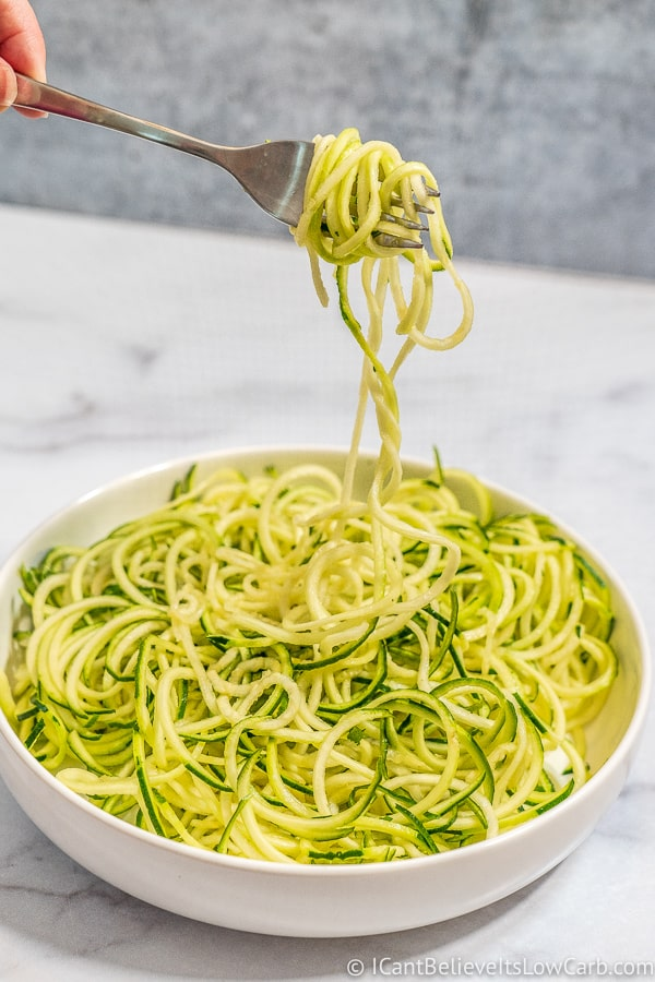 twirling Zucchini Noodles on a fork