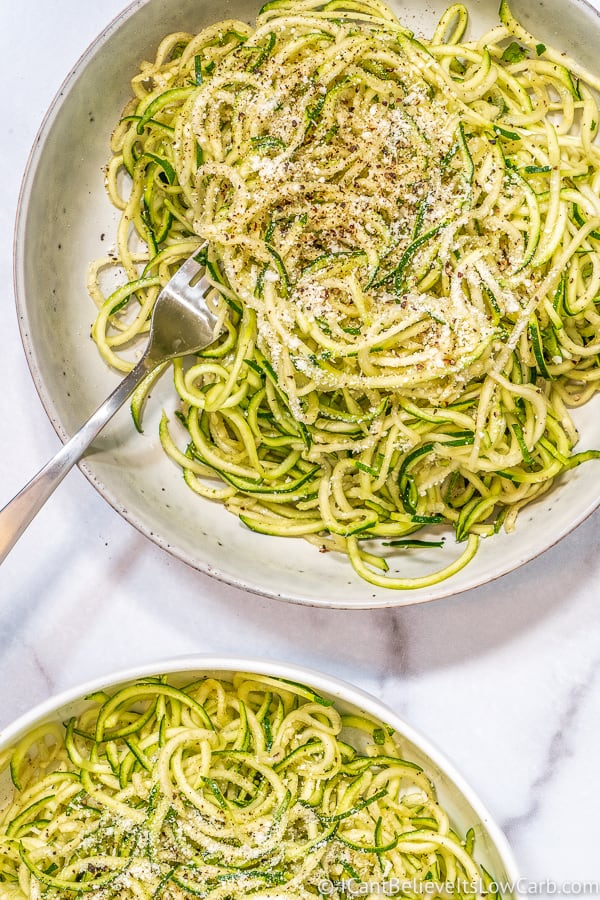 2 bowls of Zoodles with cheese