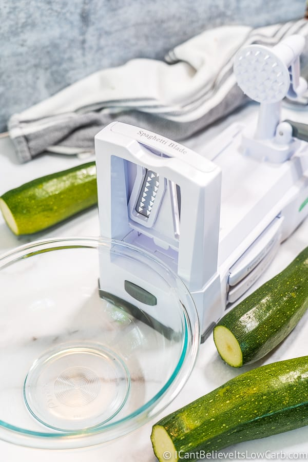 Zucchini Spiralizer on counter with glass bowl