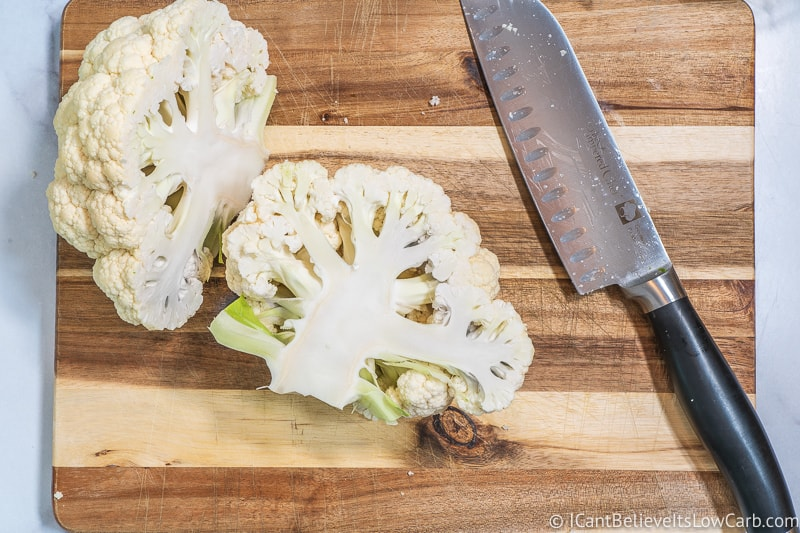 Chopping Cauliflower in half