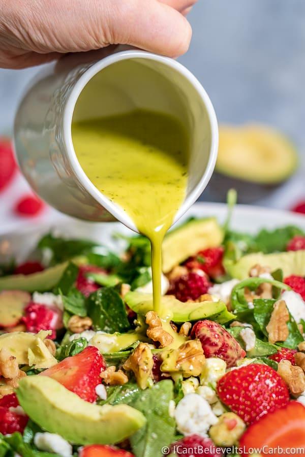 Pouring Cilantro Lime Salad Dressing