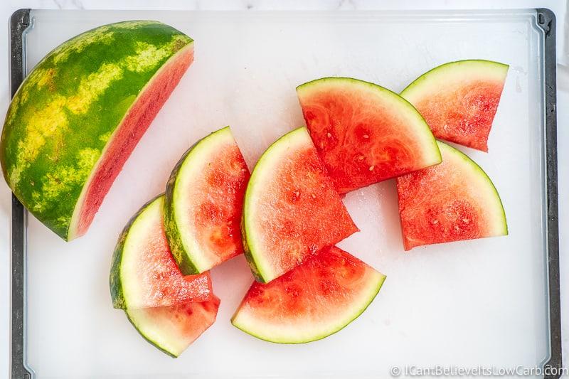 Watermelon cut into triangle slices